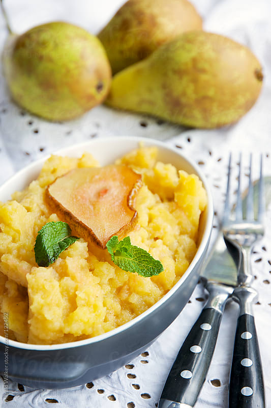 Mashed Rutabaga and Roasted Pears by Harald Walker for Stocksy United