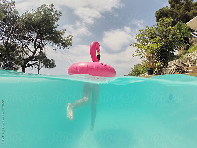 Person swimming on flamingo inflatable in pool by Guille Faingold for Stocksy United