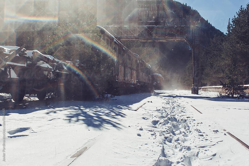 old real station at winter  by Javier Pardina for Stocksy United