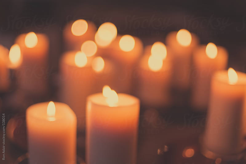 Candles Lit on Antique Table at a Wedding by Ron Adair for Stocksy United