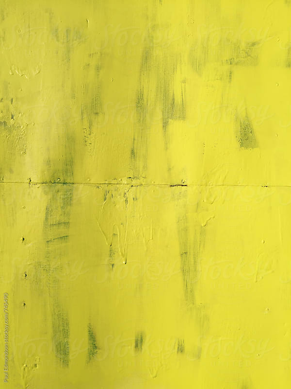 Painted yellow wall, close up by Paul Edmondson for Stocksy United