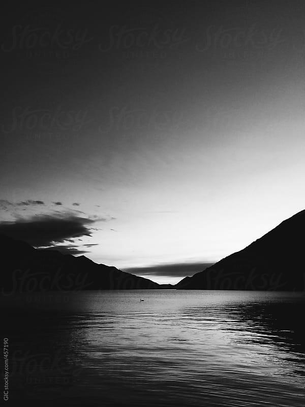 Black and white Como Lake landscaoe by GIC for Stocksy United