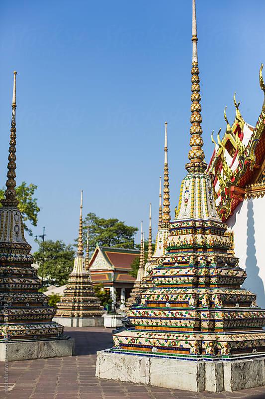 Stupas in Wat Pho, Bangkok , Thailand by michela ravasio for Stocksy United