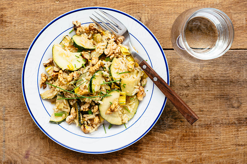 Zucchini Walnut Fried Rice by Harald Walker for Stocksy United