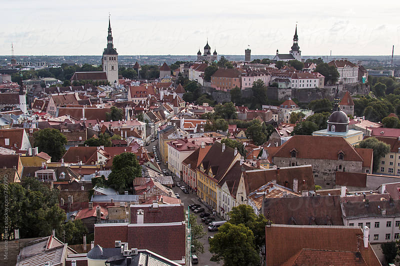Estonia, Tallinn - Aerial view of Tallinn's old town by Melanie Kintz for Stocksy United
