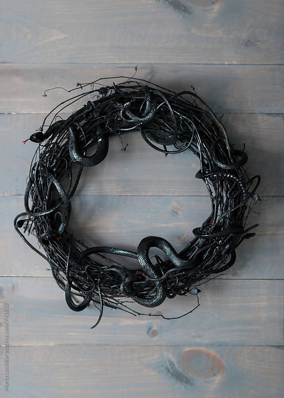 Black snake halloween wreath by Marta Locklear for Stocksy United