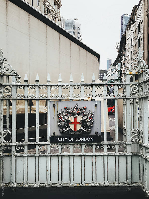 City of London Coat of Arms Hanging on London Subway Station by Julien L. Balmer for Stocksy United