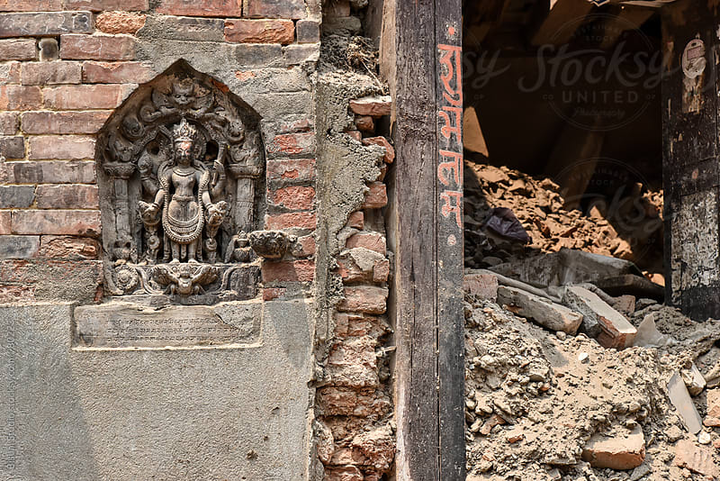 Destroyed building after the 2015 earthquake in Nepal by Bisual Studio for Stocksy United