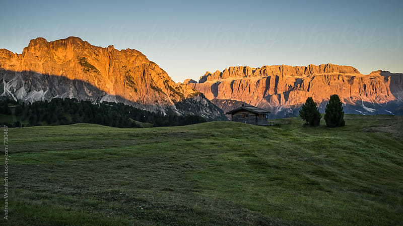 Alpenglow in the Italian Dolomites by Andreas Wonisch for Stocksy United