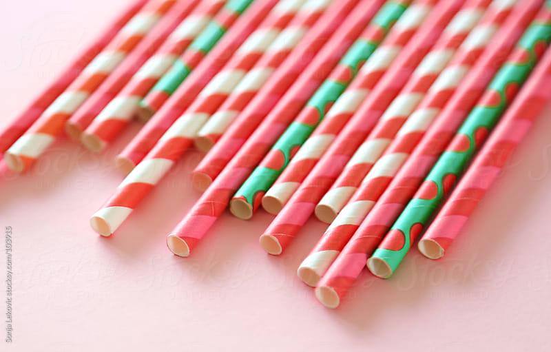 pastel drinking straws background by Sonja Lekovic for Stocksy United