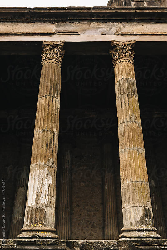 Ancient roman columns in Pompeii by Aleksandar Novoselski for Stocksy United