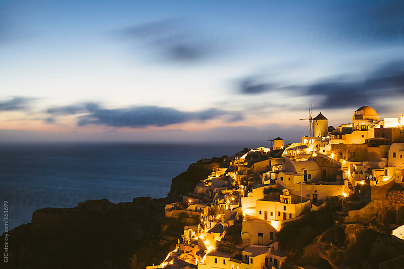 Oia town in Santorini at twilight by GIC for Stocksy United