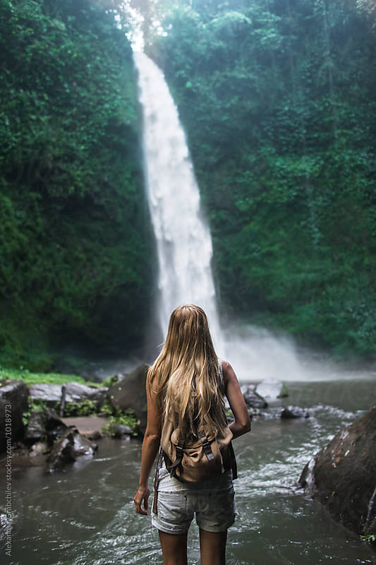 Tropical Waterfall In A Jungle by Alexander Grabchilev for Stocksy United