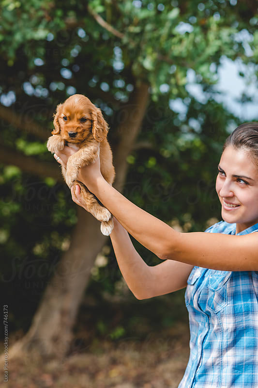 Young woman with a Cocker Spaniel puppy by Luca Pierro for Stocksy United