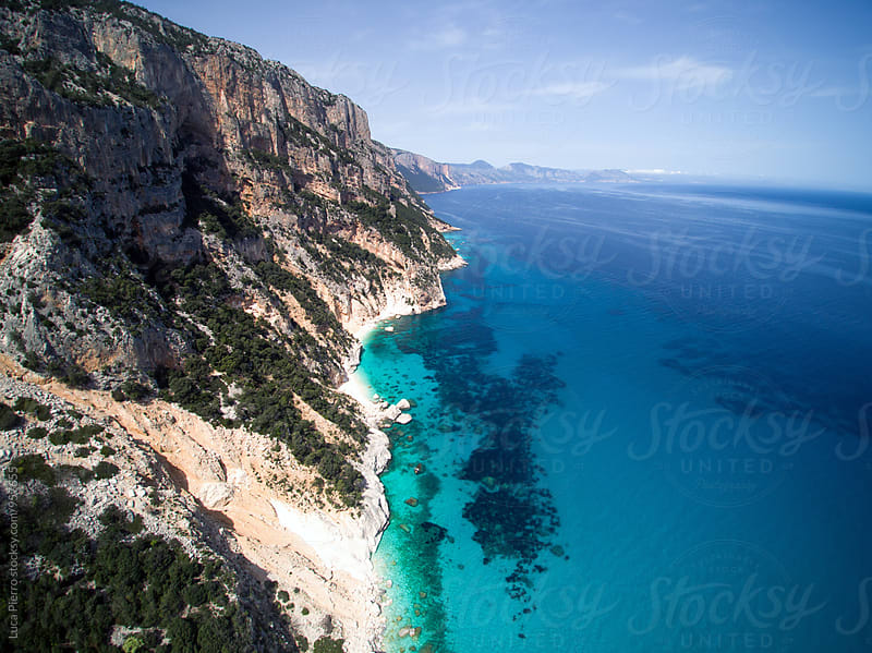 Aerial view of the Sardinian coast along mediterranean sea by Luca Pierro for Stocksy United