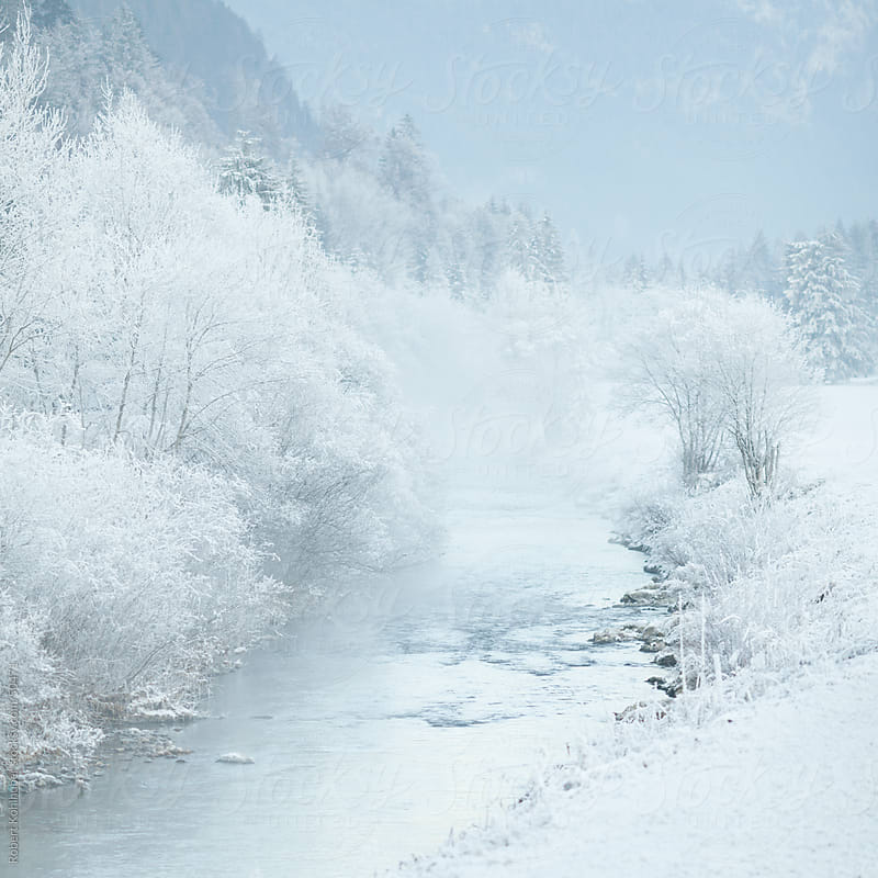 Winter river with snow covered nature by Robert Kohlhuber for Stocksy United