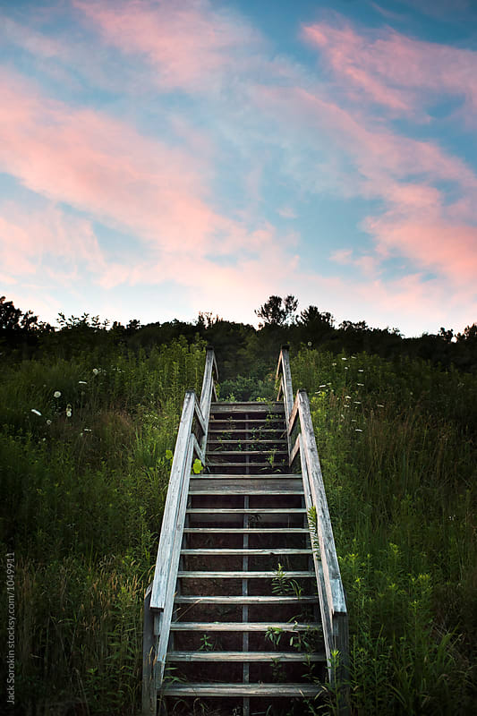 Beautiful Sunset Above Wood Staircase Outside by Jack Sorokin for Stocksy United