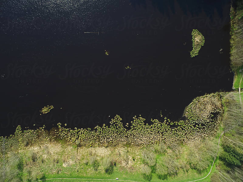 Drone shot of lake in countryside by rolfo for Stocksy United