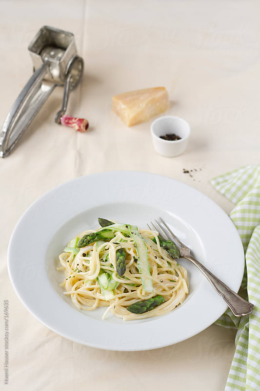 Pasta with asparagus by Noemi Hauser for Stocksy United