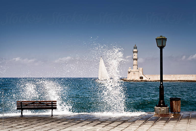 Chania harbour in Crete by Ivan Bastien for Stocksy United