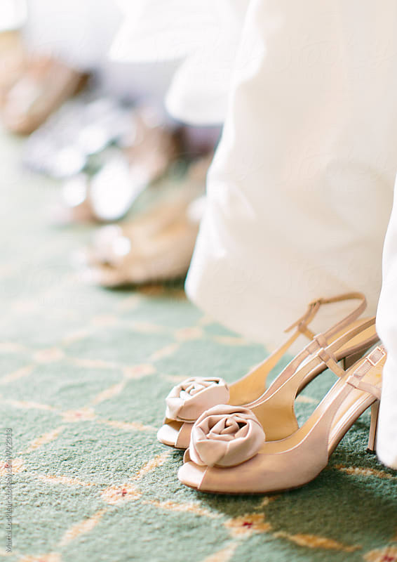 Close up of wedding shoes by Marta Locklear for Stocksy United