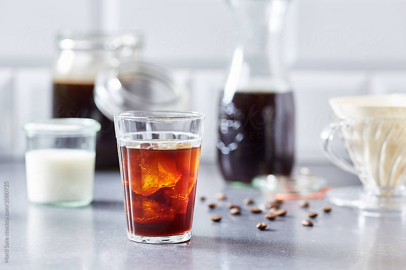 Homemade cold brew coffee with milk on background by Martí Sans for Stocksy United