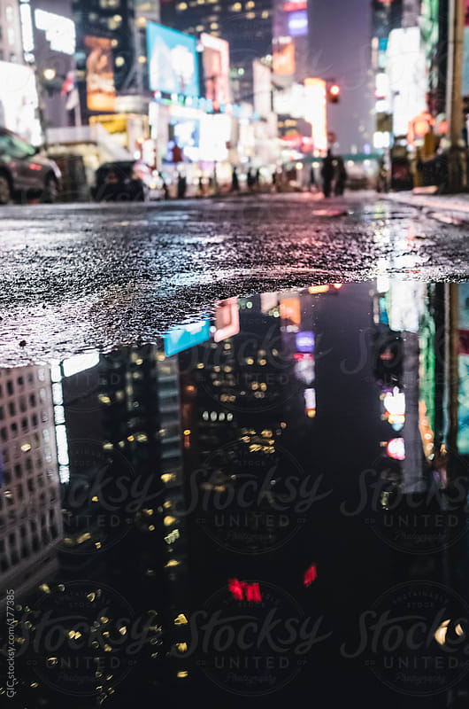 Rain in Times Square at night - New York City by GIC for Stocksy United