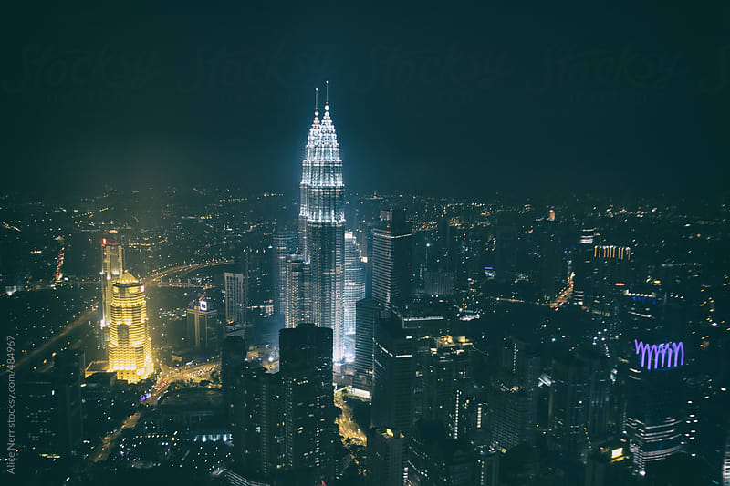 Aerial view to Kuala Lumpur in the night time by Alice Nerr for Stocksy United