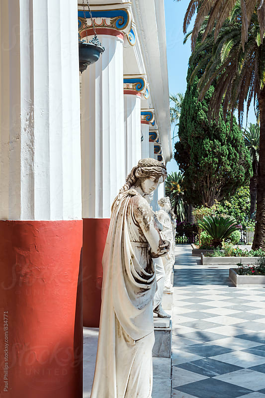 Part of the Peristyle of the Muses, Achilleion Palace. Corfu, Greece. by Paul Phillips for Stocksy United