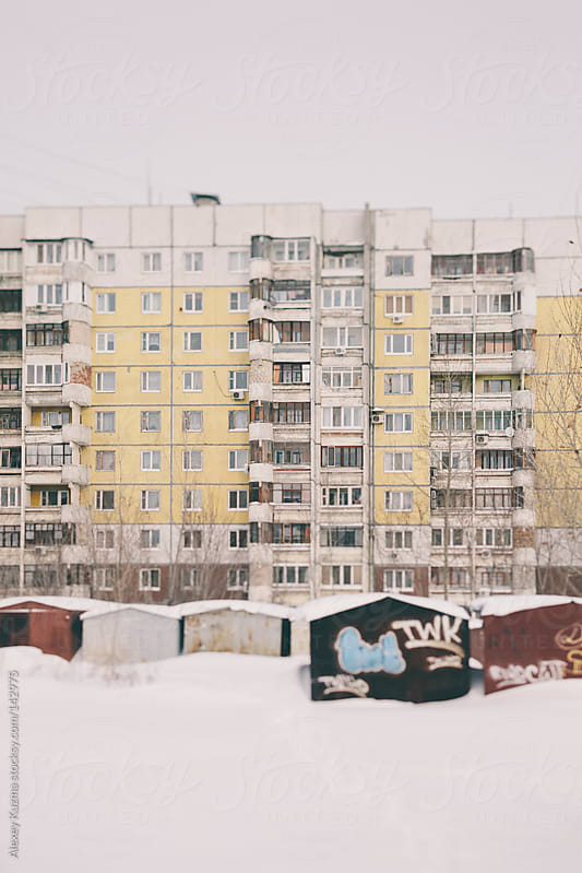 Ugliness facade of  apartment block house,Russia,Samara by Alexey Kuzma for Stocksy United
