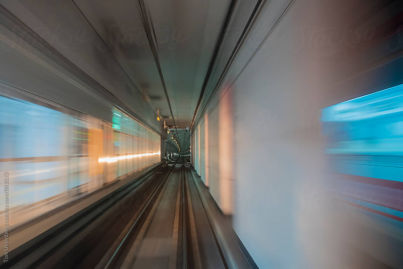 Train Arriving at an Underground Station - View through the Windshield - Motion Blur by Tom Uhlenberg for Stocksy United