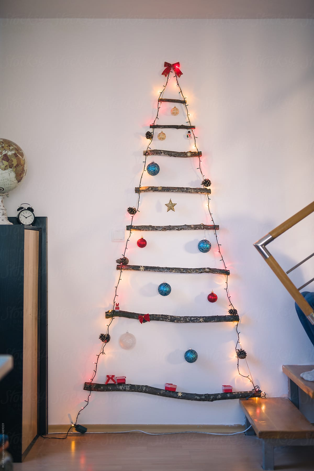 Stock Photo Alternative Wooden Christmas Tree With Glowing Lights