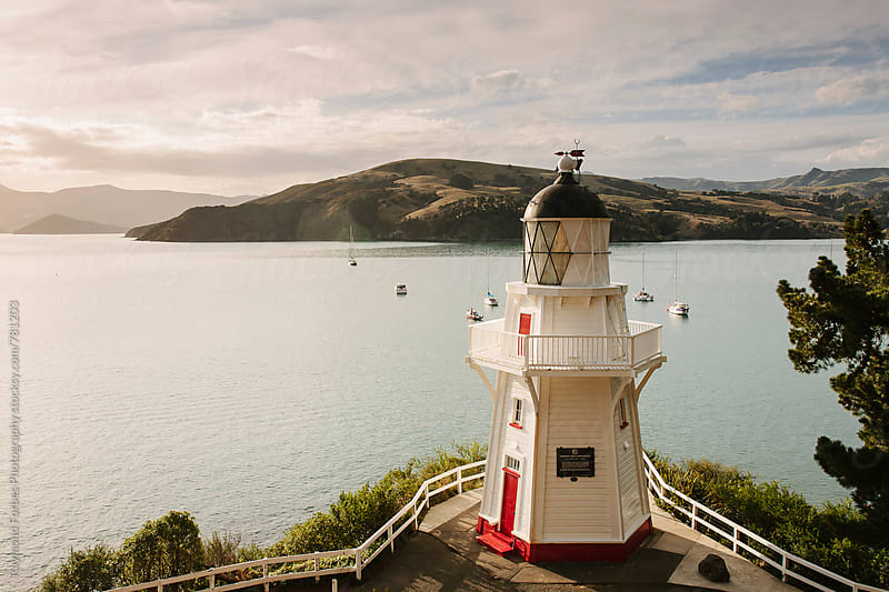 Akaroa Head Lighthouse New Zealand by Raymond Forbes LLC for Stocksy United