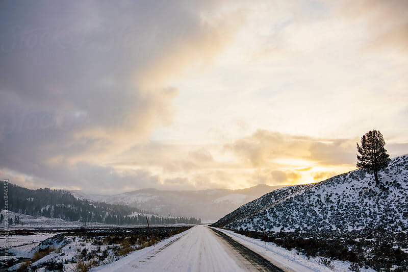 Sunset over Icy Roads by Arthur Chang for Stocksy United