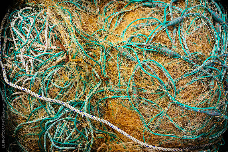 Full frame shot of fishing nets and ropes by J.R. PHOTOGRAPHY for Stocksy United