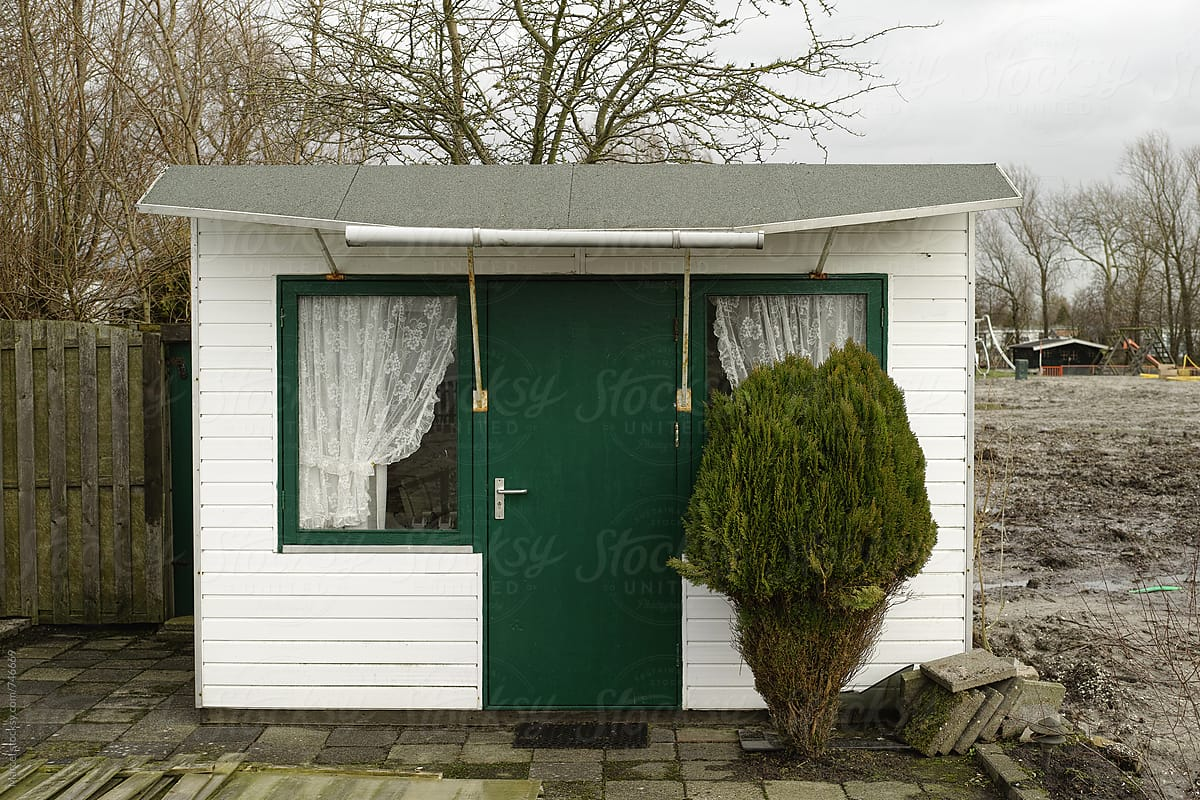 Cute Garden Shed And Conifer By Marcel For Stocksy United