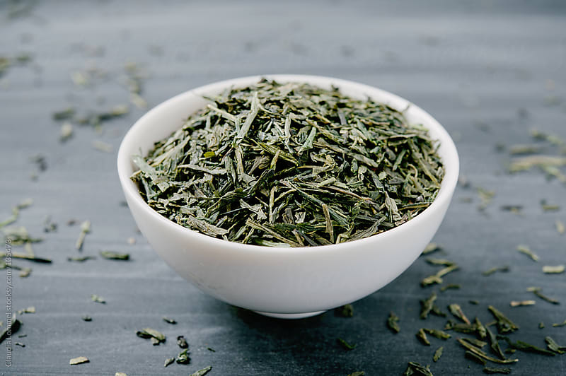 Bowl of Loose Green Japanese Sencha Tea  by Claudia Lommel for Stocksy United