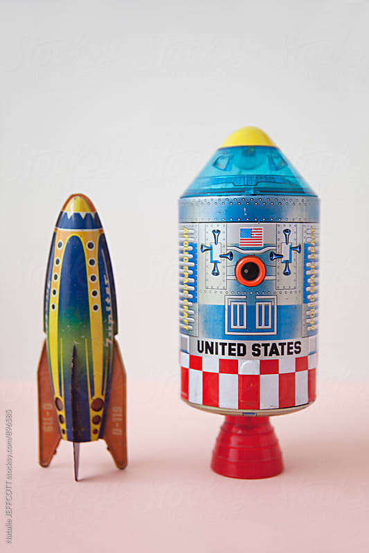 vintage / retro tin toy United States rocket by Natalie JEFFCOTT for Stocksy United