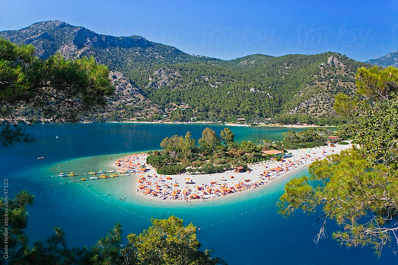 Turkey, Mediterranean Coast, also known as the 'Turquoise' coast, Oludeniz near Fethiye, elevated view of the famous Blue Lagoon and Belcekiz beach by Gavin Hellier for Stocksy United