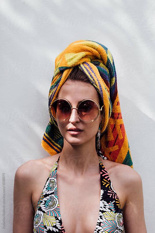 Portrait of a Pretty Woman in Retro Bikini by Katarina Radovic for Stocksy United