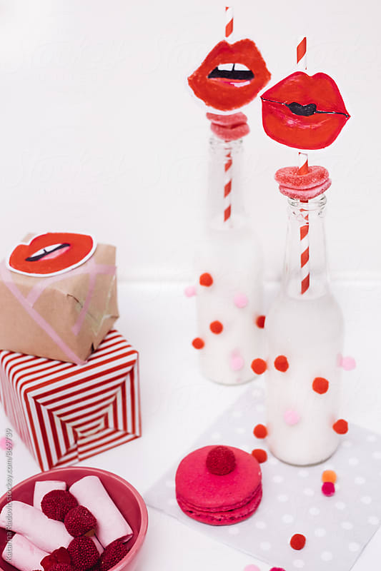 Valentine's Day Party Decoration With Red Lips on a Straw by Katarina Radovic for Stocksy United