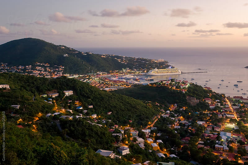 West Indies, Caribbean, Lesser Antilles, Leeward Islands, US Virgin Islands, St. Thomas, elevated view over Charlotte Amalie and the Cruise Ship dock at Havensight by Gavin Hellier for Stocksy United