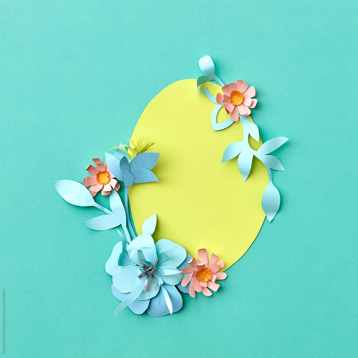Handcraft Paper Flowers And Leaves Yellow Egg On A Green Backgr
