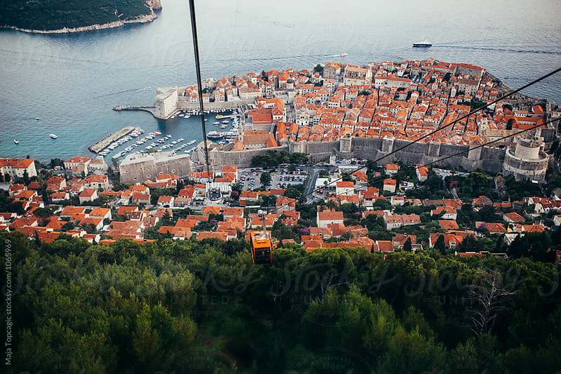 Dubrovnik Cable Car at sunset by Maja Topcagic for Stocksy United
