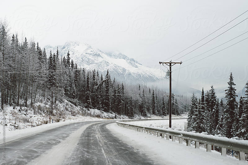 a bend in the road on a snowy day in Alaska by Tara Romasanta for Stocksy United