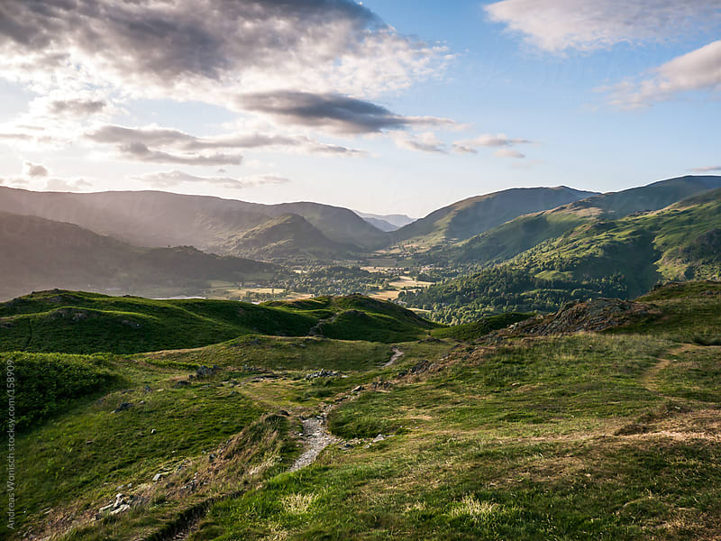 Path over the hills and mountains in the British Lake District by Andreas Wonisch for Stocksy United