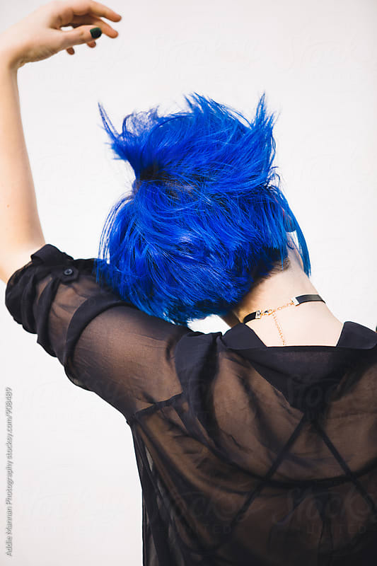 Blue Hair Flip by Addie Mannan Photography for Stocksy United