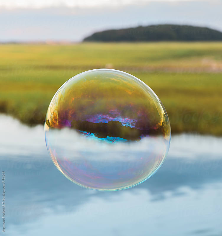 Bubble Floating over Marsh  by Raymond Forbes LLC for Stocksy United