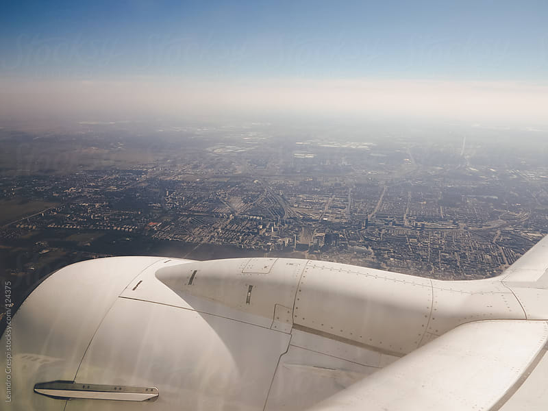 Aerial view of London from an airplane by Leandro Crespi for Stocksy United