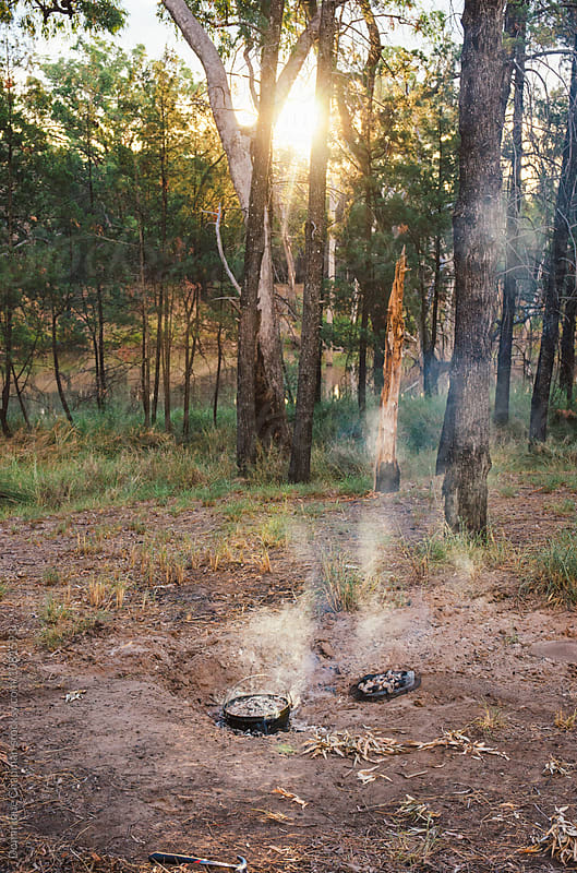 Campfire with camp oven in forest by Dominique Chapman for Stocksy United